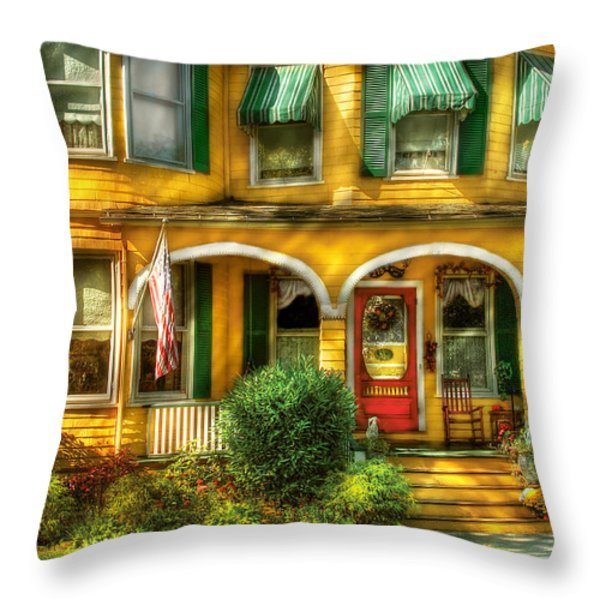 Porch - Cranford NJ - A Yellow Classic  Throw Pillow by Mike Savad