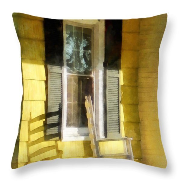 Porch - Long Afternoon Shadow of Rocking Chair Throw Pillow by Susan Savad