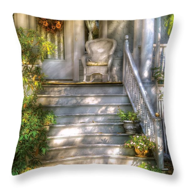 Porch - Westfield Nj - Grannies Porch  Throw Pillow by Mike Savad
