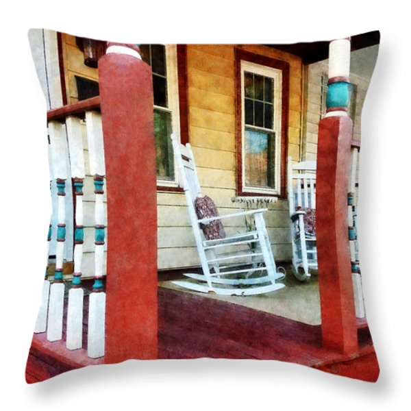 Porch With Red White and Blue Railing Throw Pillow by Susan Savad