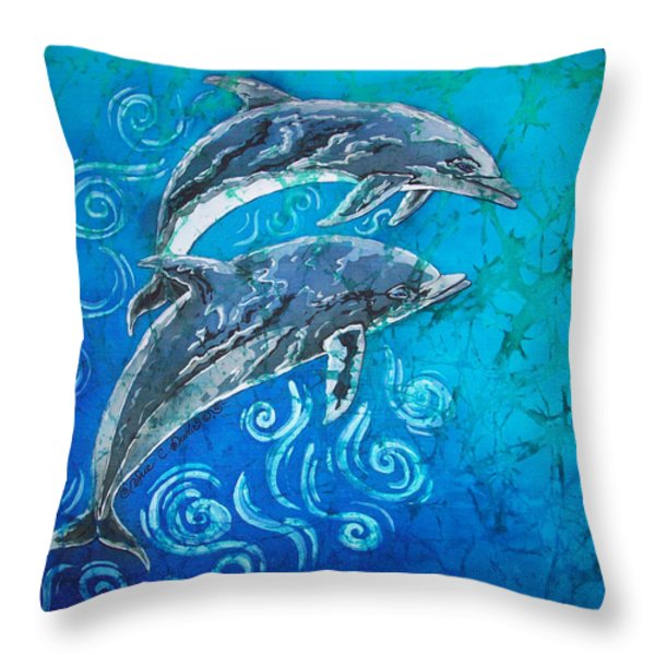 Porpoise Pair Throw Pillow by Sue Duda