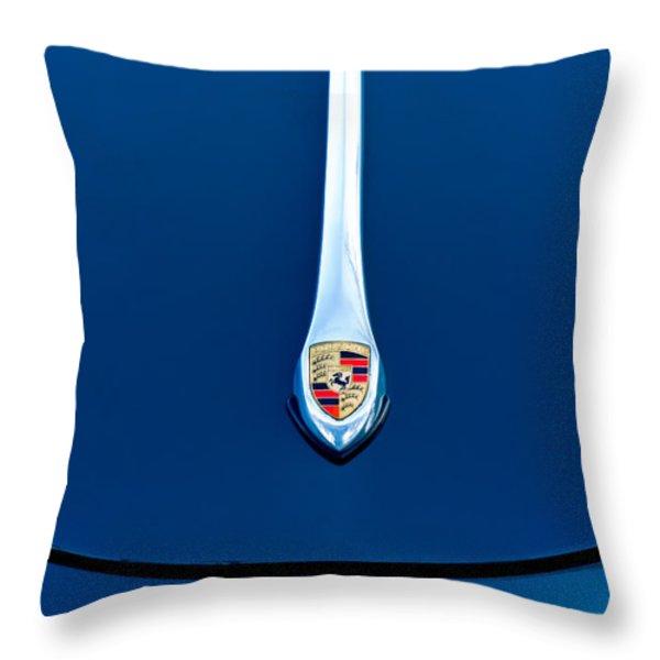 Porsche 1600 Super Hood Emblem Throw Pillow by Jill Reger