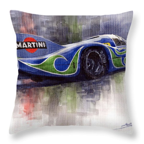 Porsche 917 Psychodelic  Throw Pillow by Yuriy Shevchuk