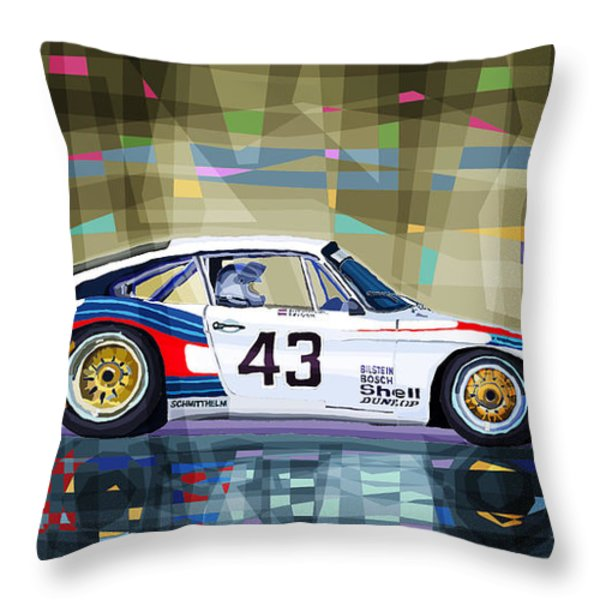 Porsche 935 Coupe Moby Dick Throw Pillow by Yuriy  Shevchuk