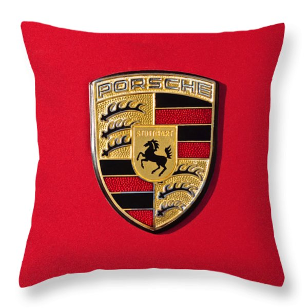 Porsche Emblem -0057cold Throw Pillow by Jill Reger