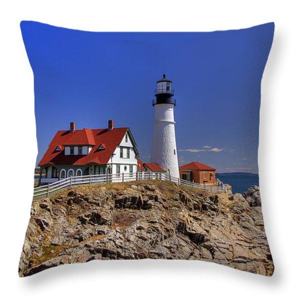 Portland Head Light 3 Throw Pillow by Joann Vitali
