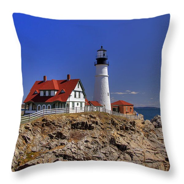 Portland Head Light 3 Throw Pillow by Joann Vitali
