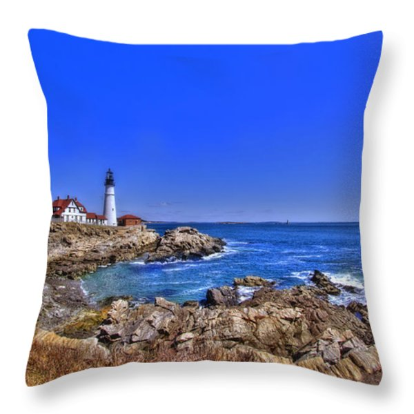 Portland Head Light 4 Throw Pillow by Joann Vitali