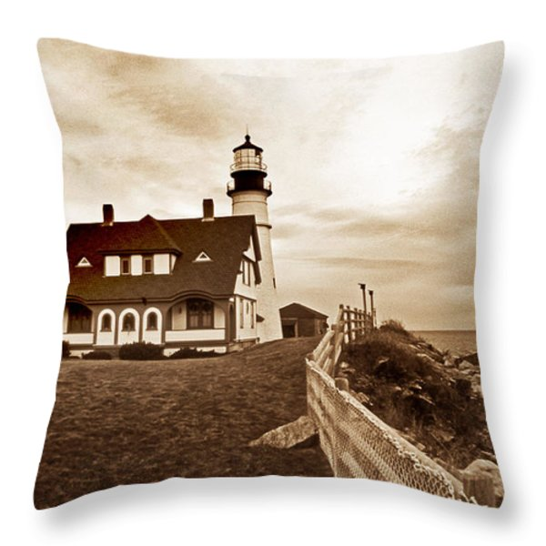 PORTLAND HEAD LIGHTHOUSE IN SEPIA Throw Pillow by Skip Willits