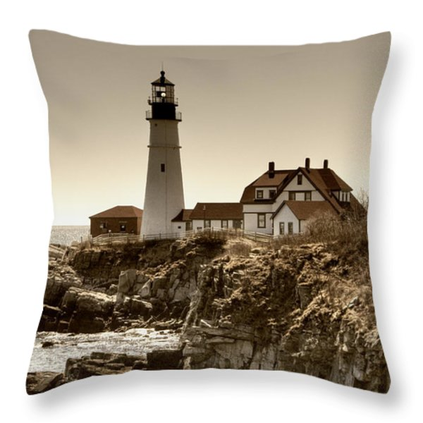 Portland Head Lighthouse Throw Pillow by Joann Vitali