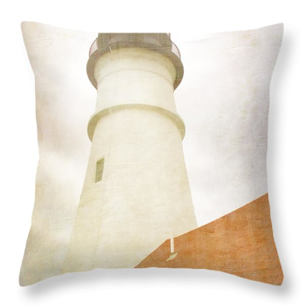Portland Head Lighthouse Maine Throw Pillow by Carol Leigh
