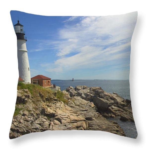 Portland Head Lighthouse Panoramic Throw Pillow by Mike McGlothlen