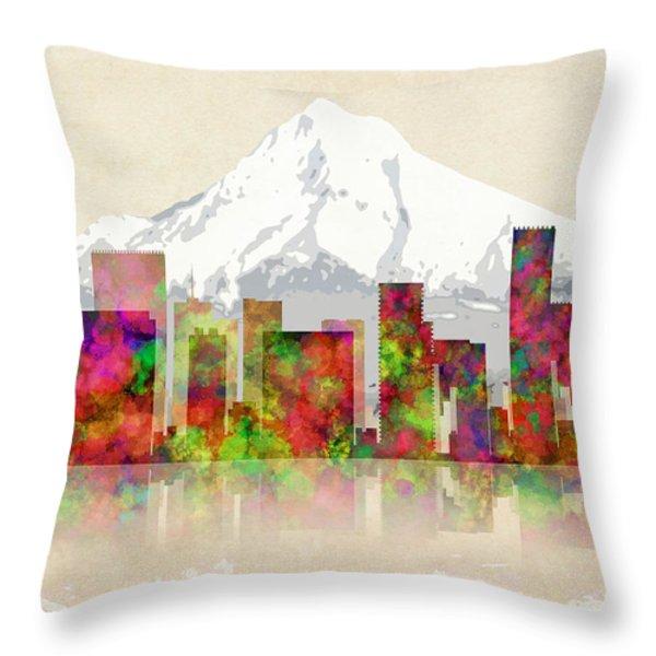 PORTLAND OREGON SKYLINE Throw Pillow by Daniel Hagerman