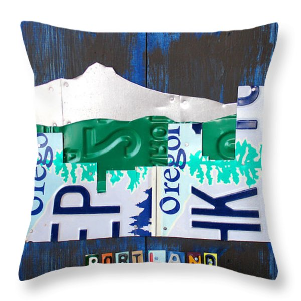 Portland Oregon Skyline License Plate Art Throw Pillow by Design Turnpike