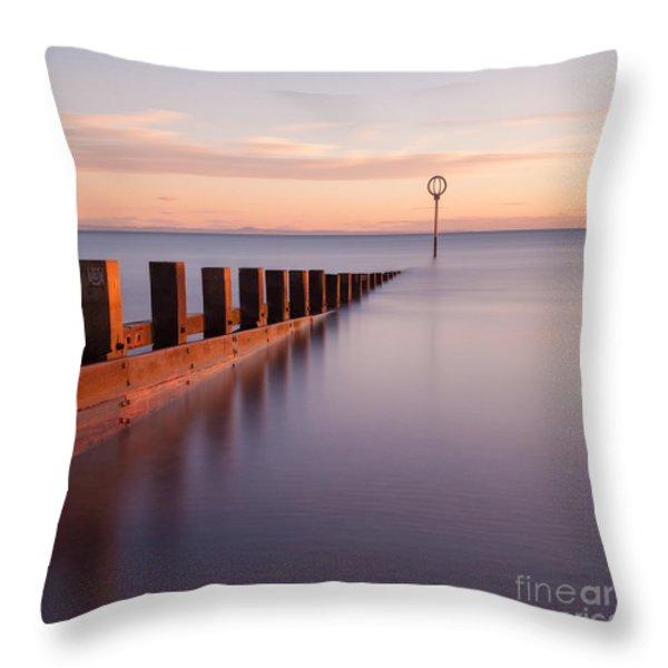 Portobello Beach Groynes Throw Pillow by John Farnan