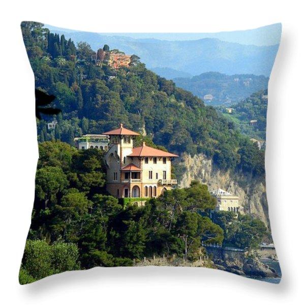 Portofino Coastline Throw Pillow by Carla Parris