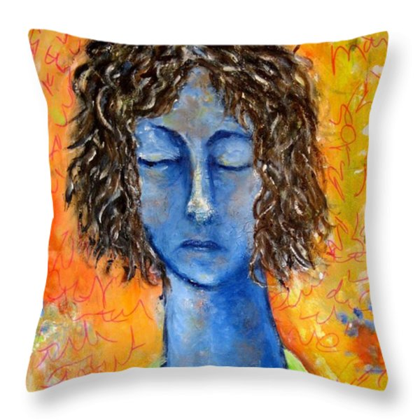 Portrait In Blue Throw Pillow by Chaline Ouellet