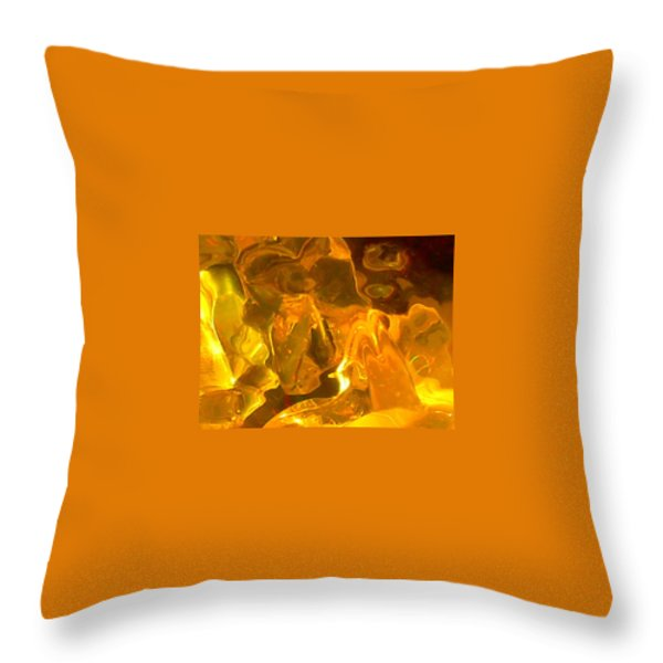 Portrait Of A Sleeping Horse In Gold Throw Pillow by James Welch
