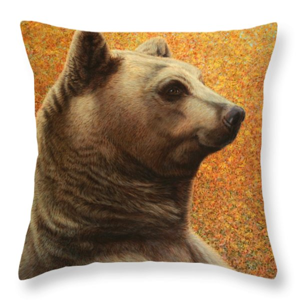 Portrait of a Bear Throw Pillow by James W Johnson