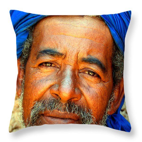 Portrait Of A Berber Man Throw Pillow by Ralph A  Ledergerber-Photography
