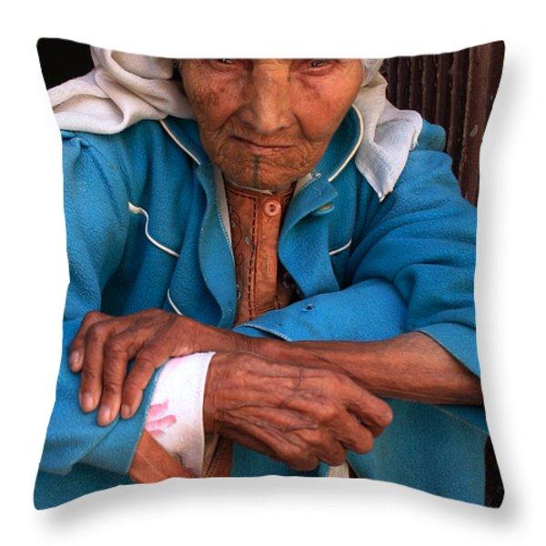 PORTRAIT OF A BERBER WOMAN Throw Pillow by Ralph A  Ledergerber-Photography