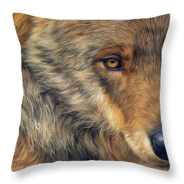 Portrait Of A Wolf Throw Pillow by David Stribbling