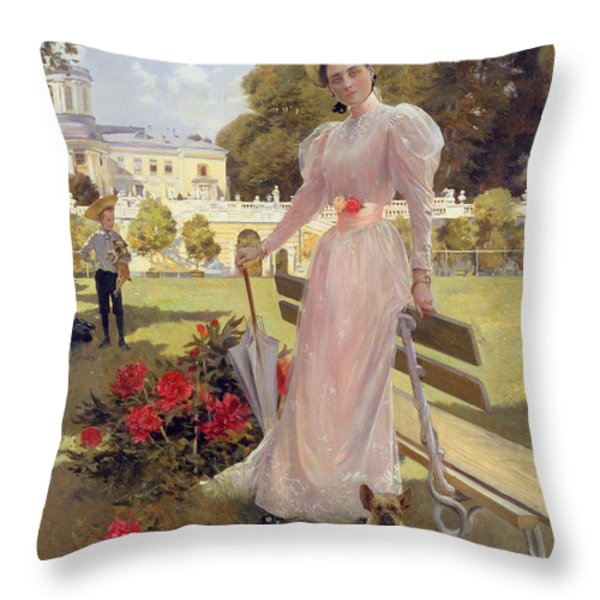 Portrait Of Princess Z.n Yusupova With Her Two Sons At Arkhangelskoe Throw Pillow by Francois Flameng