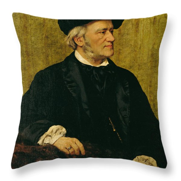 Portrait Of Richard Wagner Throw Pillow by Giuseppe Tivoli