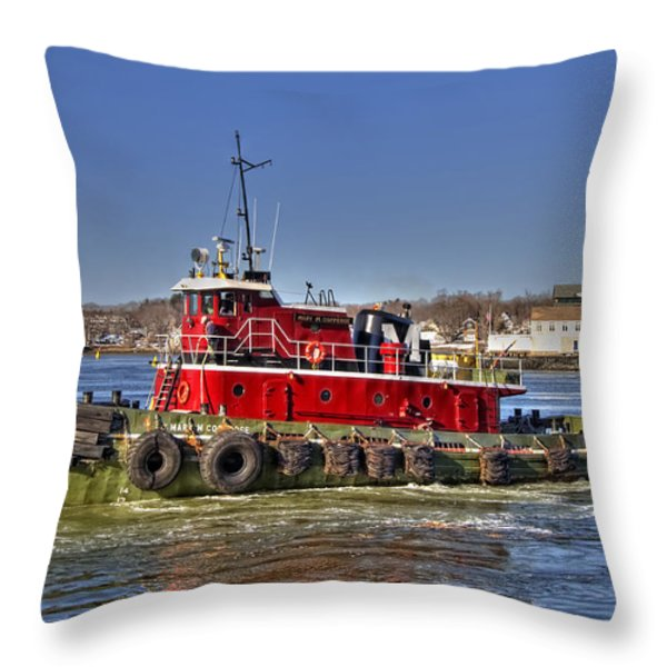 Portsmouth Tug Throw Pillow by Joann Vitali