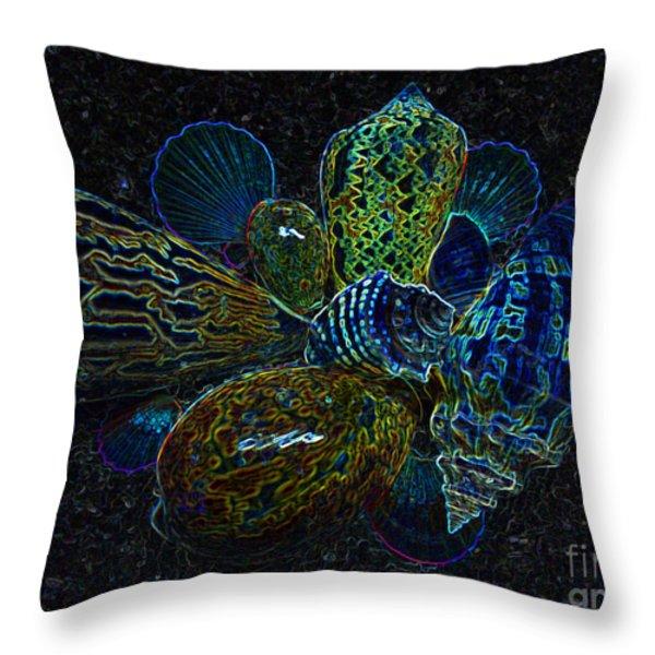 Positive Energy Seashells - Lucky Black Series Throw Pillow by Hanza Turgul