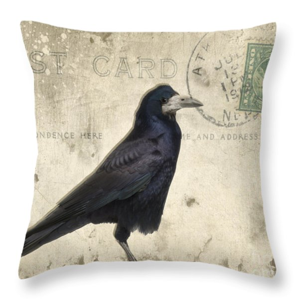 Post Card Nevermore Throw Pillow by Edward Fielding