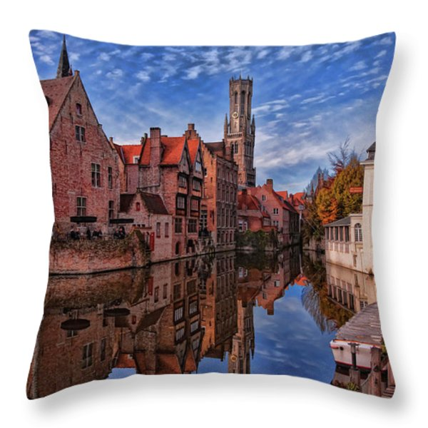 Postcard Canal Throw Pillow by Joan Carroll