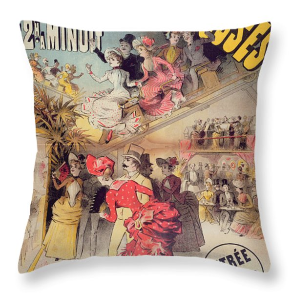 Poster Advertising The Montagnes Russes Roller Coaster Throw Pillow by French School