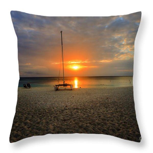 powder-white sand of Seven Mile Beach Throw Pillow by Dan Friend