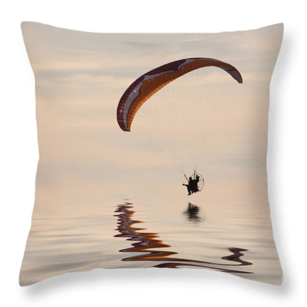 Powered Paraglider Throw Pillow by John Edwards