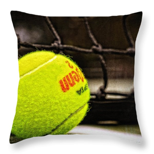 Practice - Tennis Ball By William Patrick and Sharon Cummings Throw Pillow by Sharon Cummings