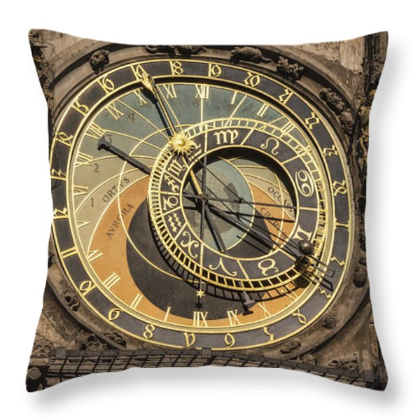 Prague Astronomical Clock Throw Pillow by Joan Carroll
