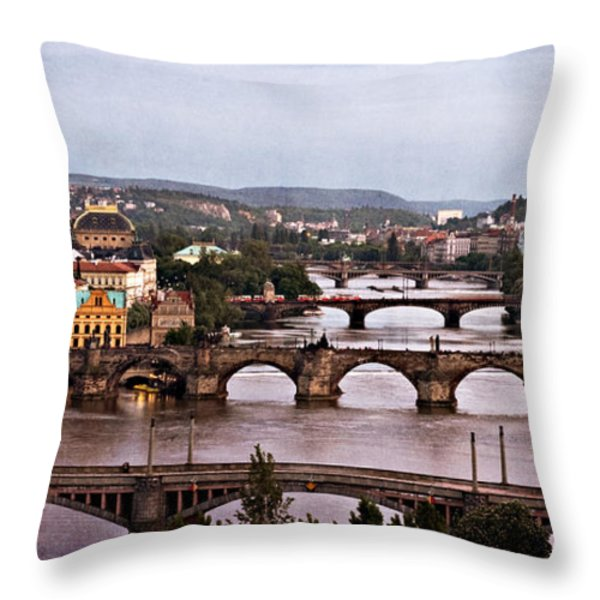 Prague Cityscape - Texture Throw Pillow by Barry O Carroll