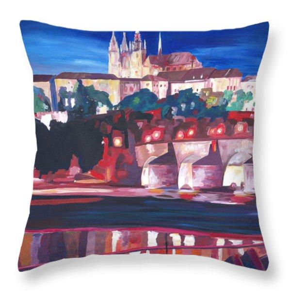 Prague - Hradschin With Charles Bridge Throw Pillow by M Bleichner