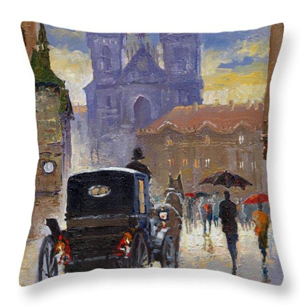 Prague Old Town Square Old Cab Throw Pillow by Yuriy  Shevchuk