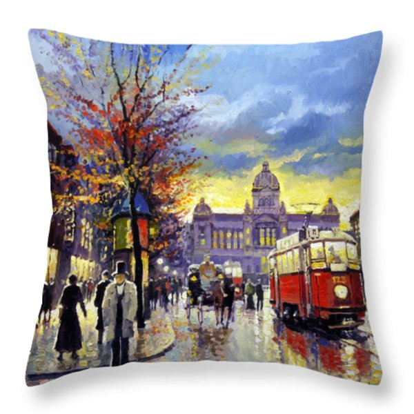 Prague Vaclav Square Old Tram Imitation By Cortez Throw Pillow by Yuriy  Shevchuk