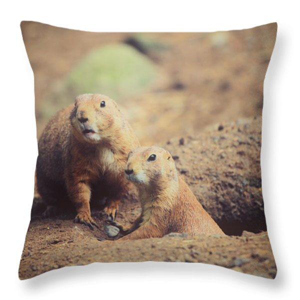 Prairie Dogs Throw Pillow by Karol  Livote