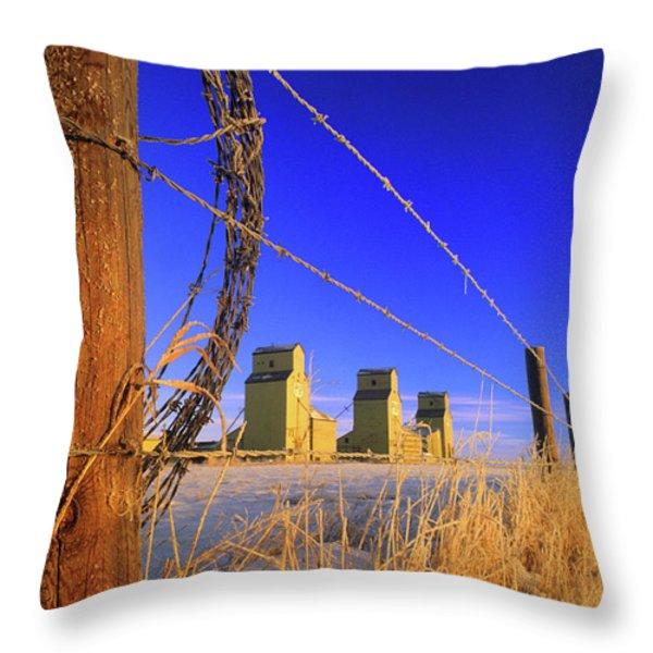 Prairie Grain Elevators Throw Pillow by Bob Christopher