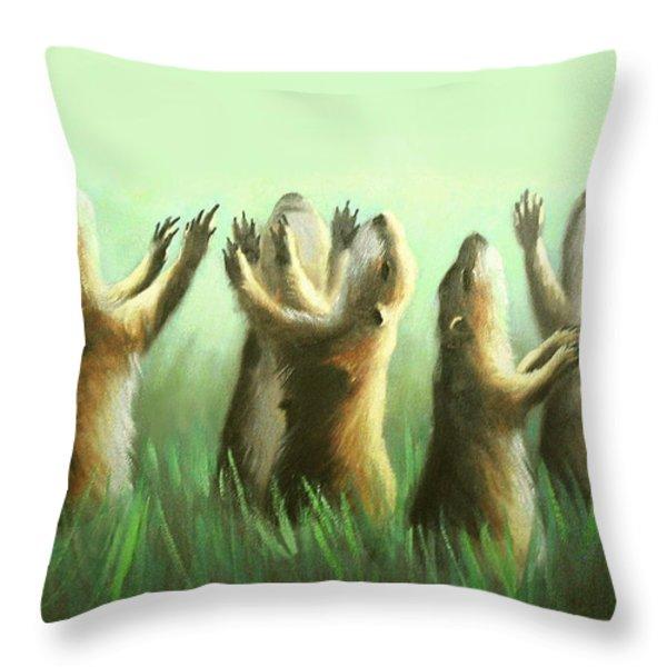 Praising Prairie Dogs Throw Pillow by Anthony Falbo