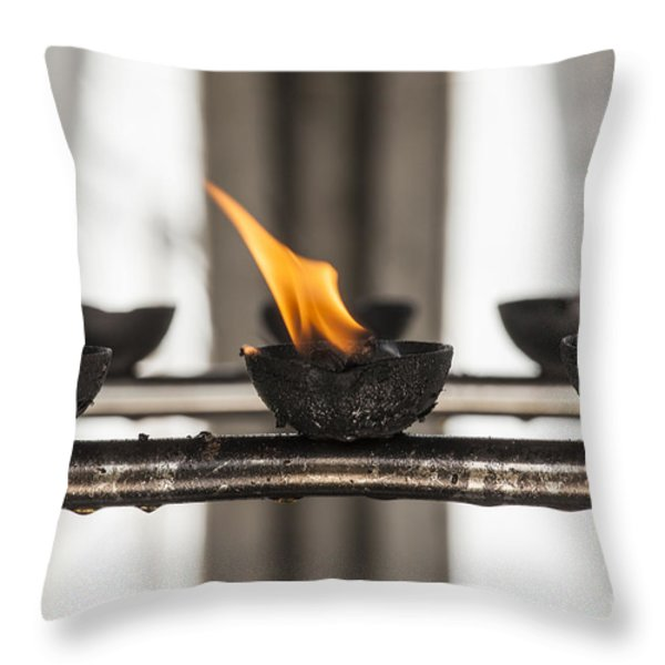 Prayer lamps Throw Pillow by Patricia Hofmeester