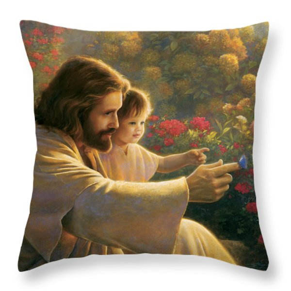 Precious In His Sight Throw Pillow by Greg Olsen