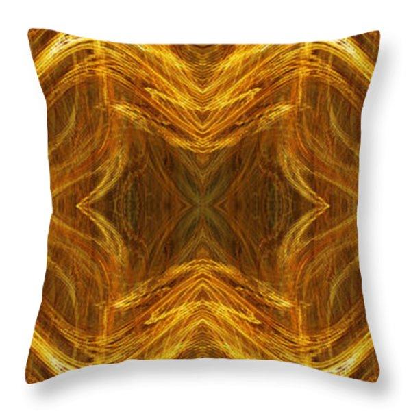 Precious Metal 3 Ocean Waves Dark Gold Throw Pillow by Andee Design