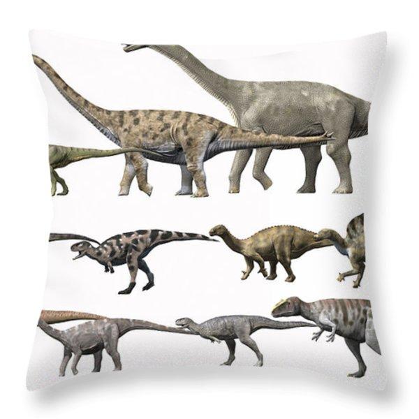 Prehistoric Era Dinosaurs Of Niger Throw Pillow by Nobumichi Tamura