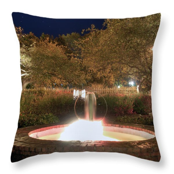 Prescott Park Fountain Throw Pillow by Joann Vitali