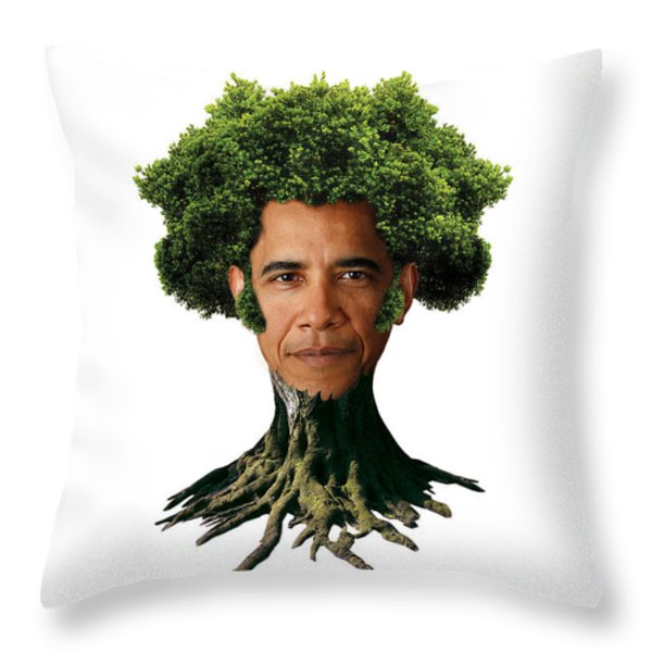 President Barack Obama as a tree Throw Pillow by Marian Voicu